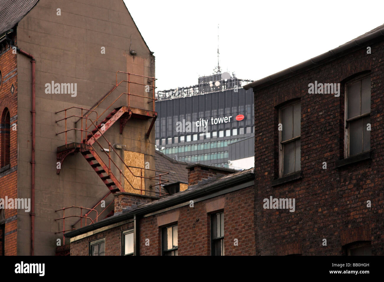 City Tower, former Sunley Tower, Picadilly Gardens, taken from the Northern Quarter, Manchester, UK - Stock Image