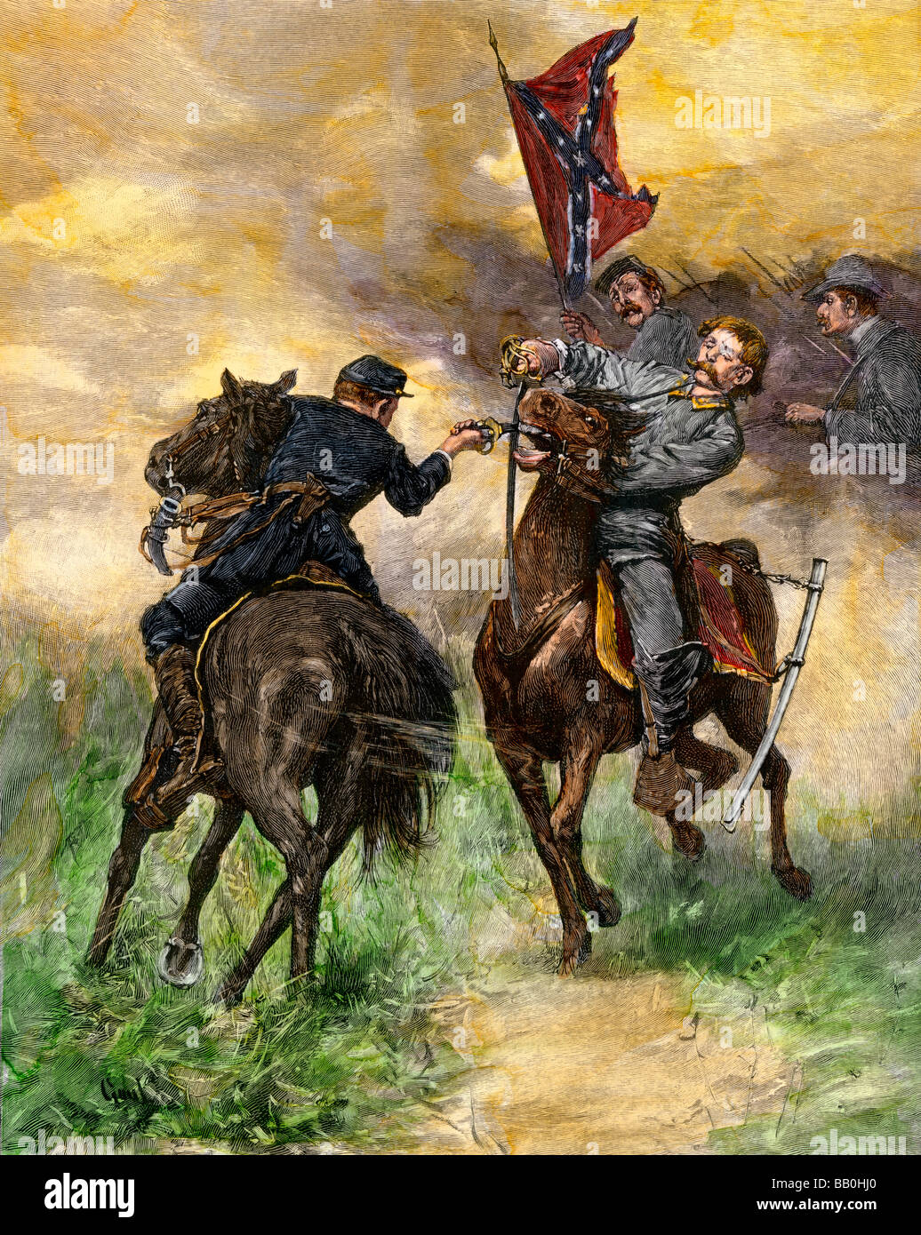 Cavalry duel during a Civil War battle - Stock Image