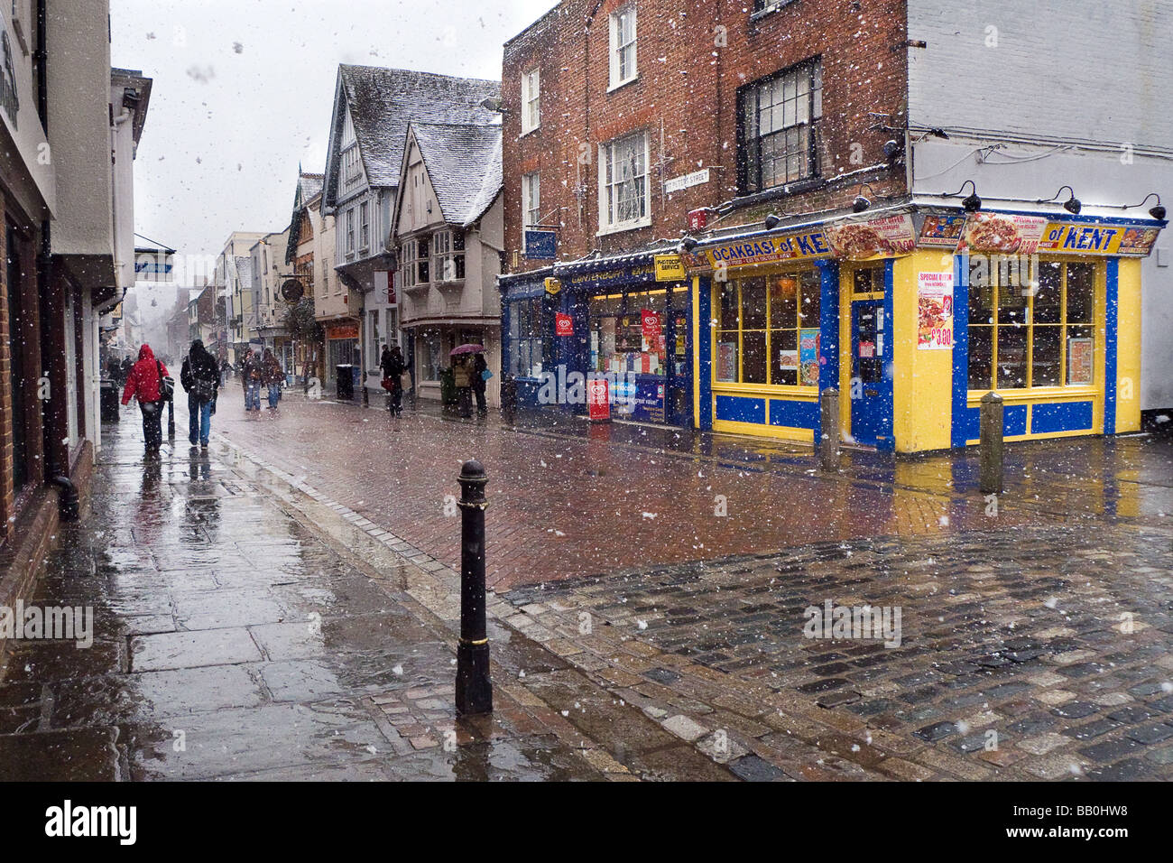 Canterbury in a snow fall - Stock Image