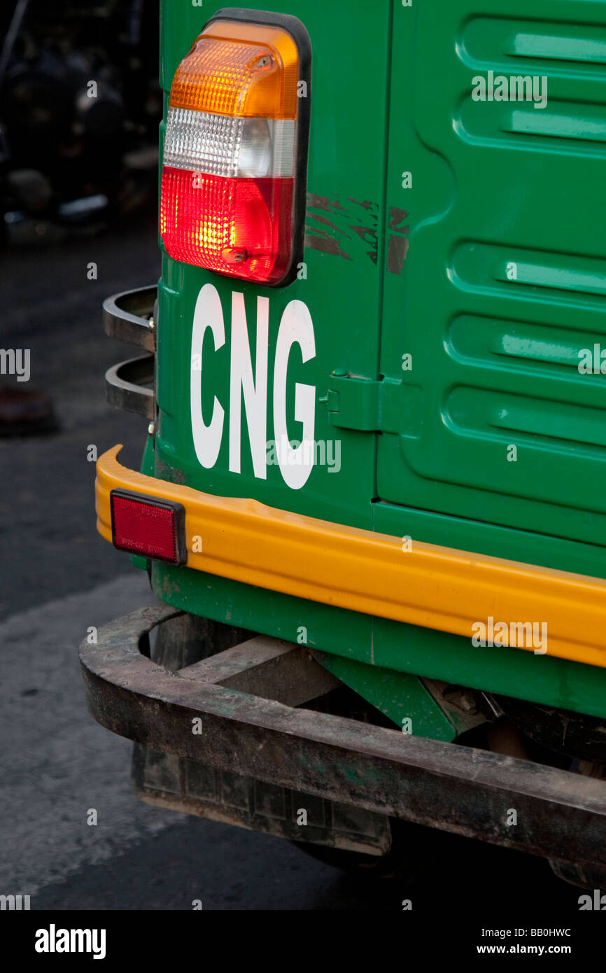 CNG or Compressed Natural Gas Auto Rickshaw in Delhi India - Stock Image