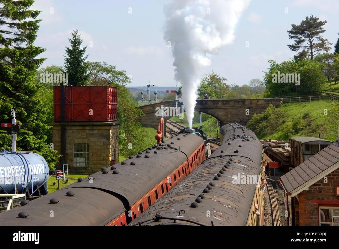 Small train station; Goathland, North Yorkshire, England, UK - Stock Image