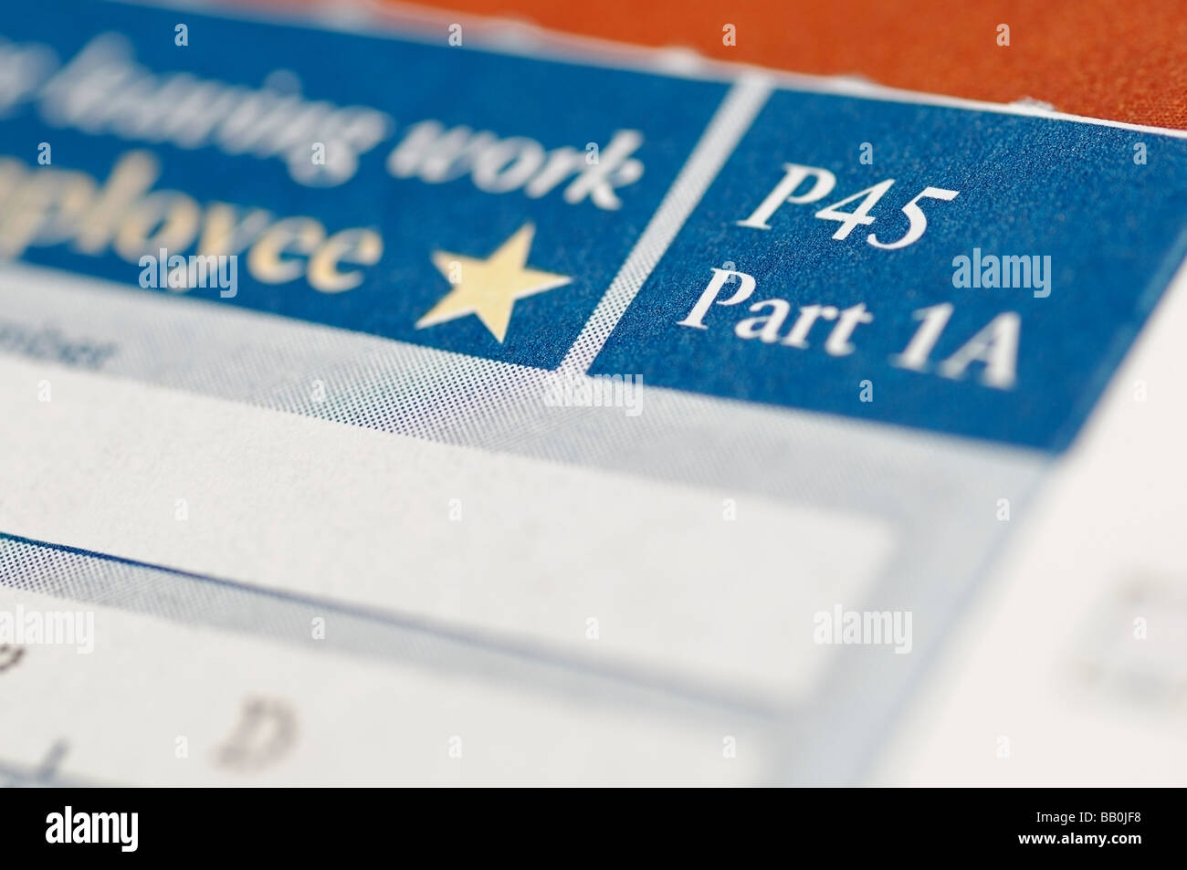 P45 Certificate Issued by HM Revenue Customs When an Employee Leaves a Job or is Made Redundant - Stock Image