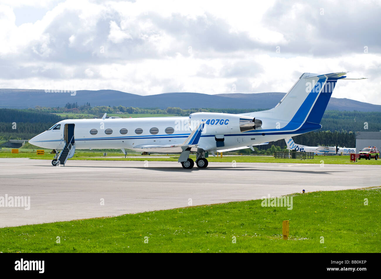 Gulfstream twin engine business jet at Inverness Dalcross Airport Scottish Highlands. - Stock Image