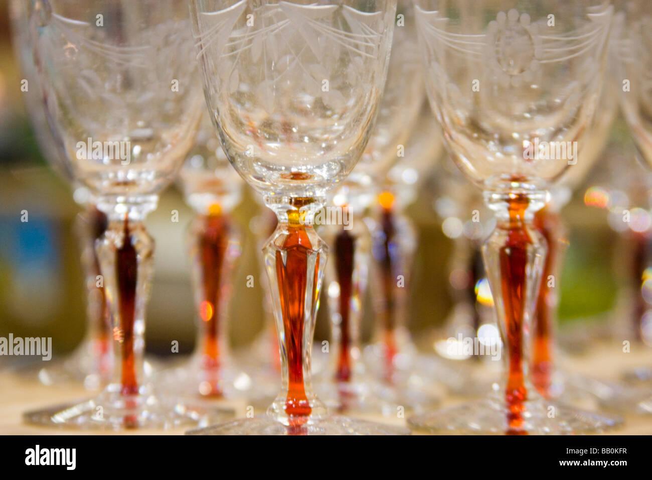 Elegant antique depression glass glassware - Stock Image