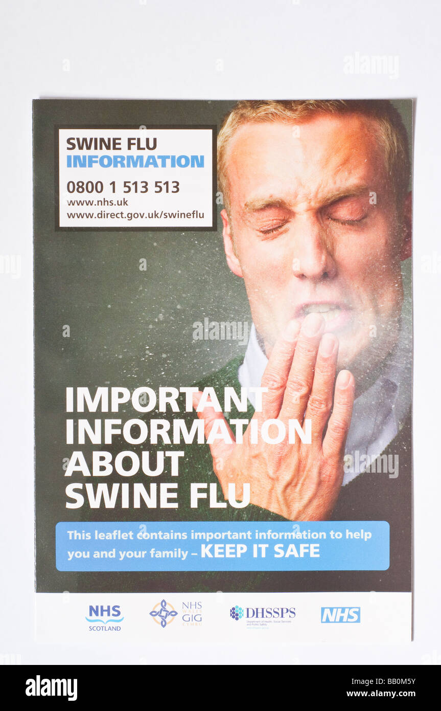 The official swine flu leaflet distributed throughout the uk by the royal mail postal service in May 2009 (information) - Stock Image