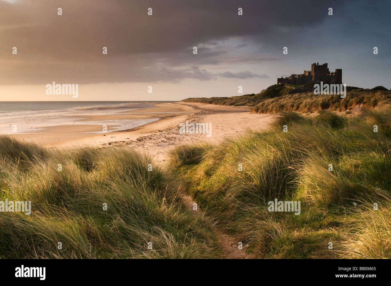 Bamburgh Castle pictured in early morning light Stock Photo