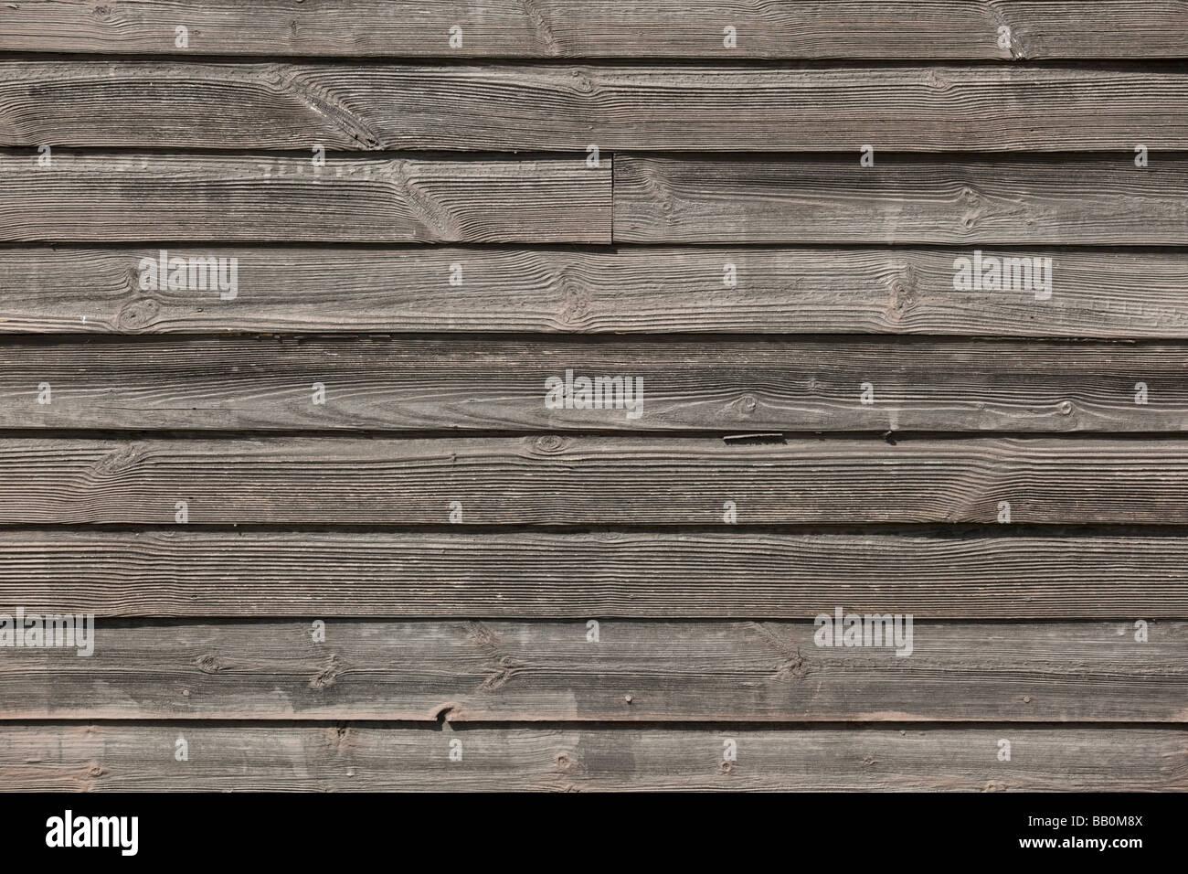 Bare wood overlap planking - Stock Image