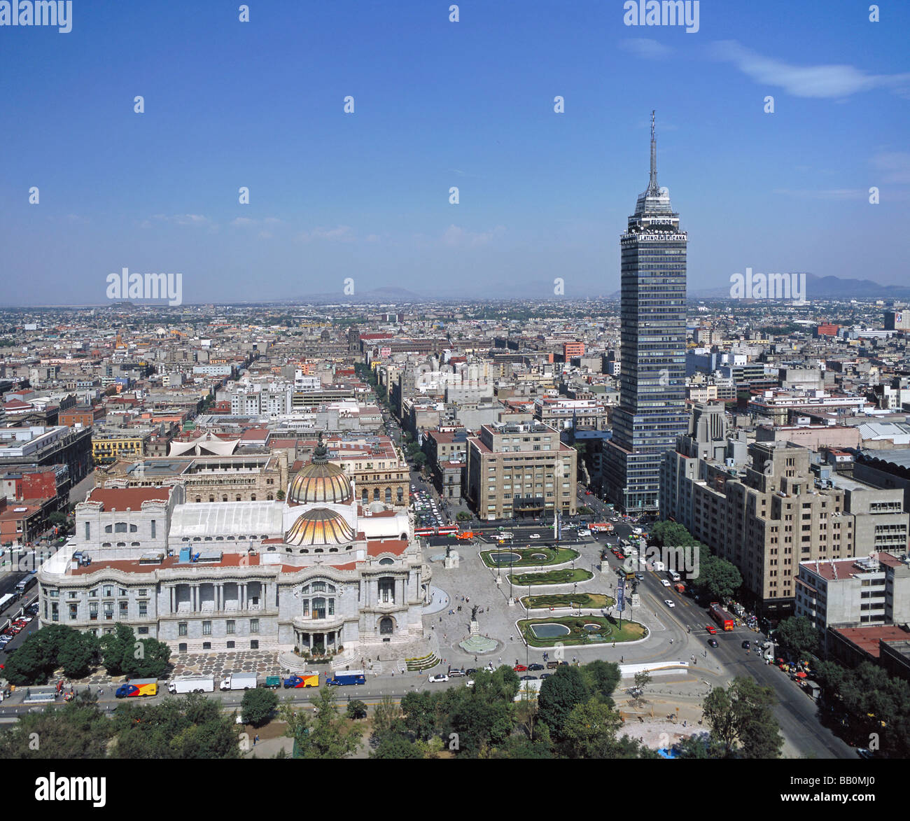 aerial above Belles Artes museum Torre Latino Americano Federal District Mexico City - Stock Image