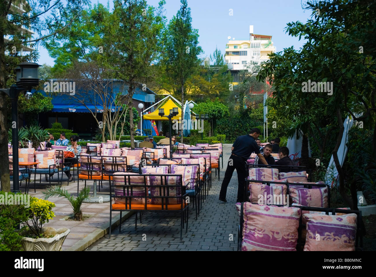 Cafe restaurant terrace in Blloku district of Tirana Albania Europe - Stock Image