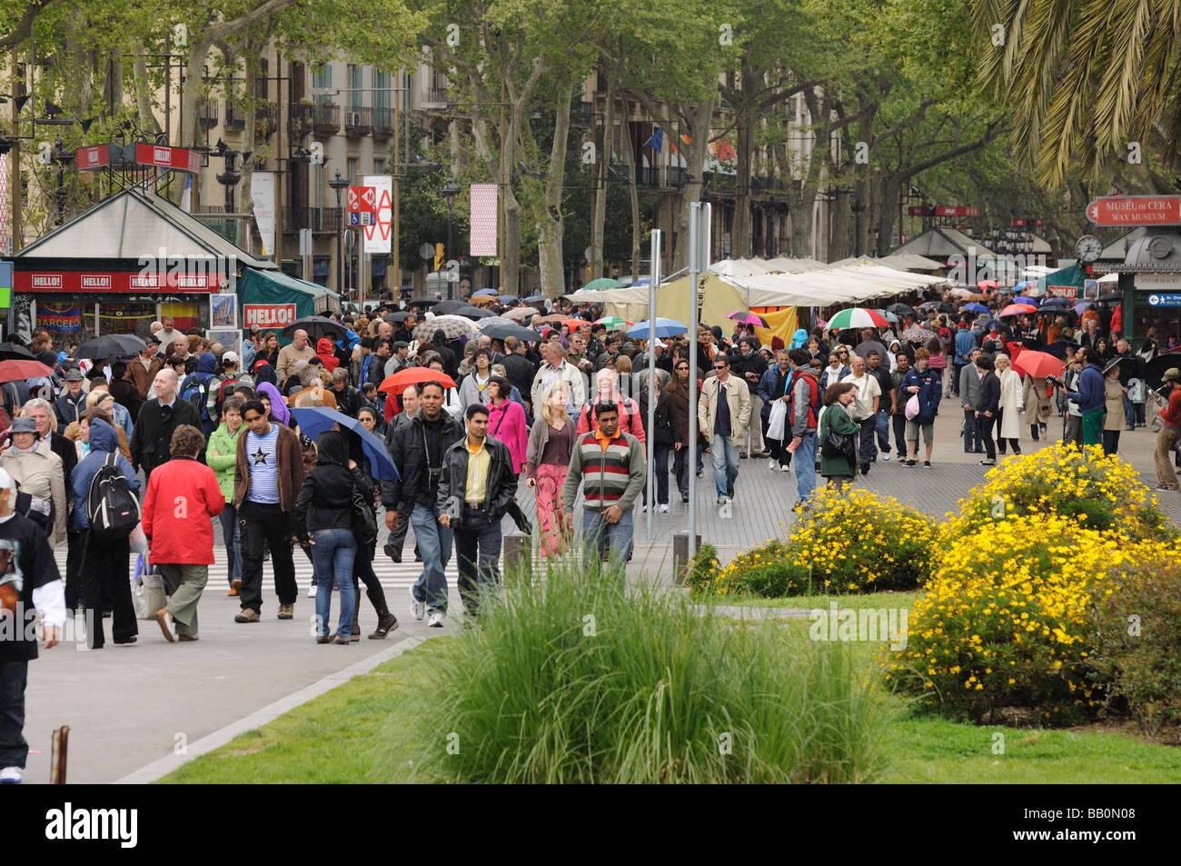 People walking at La Rambla in Barcelona Spain - Stock Image
