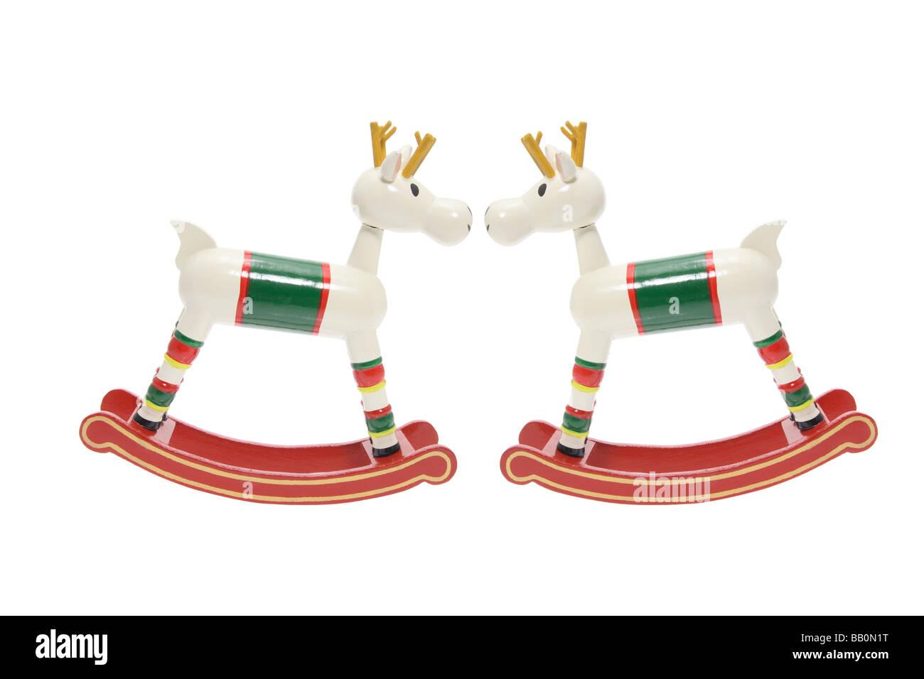 Wooden Rocking Horses Stock Photo