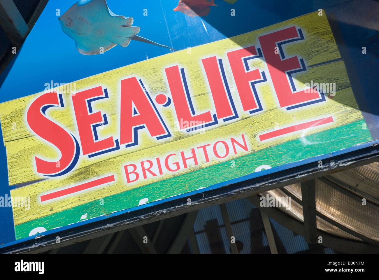 Sea Life centre Sign, Brighton, East Sussex, England, UK - Stock Image