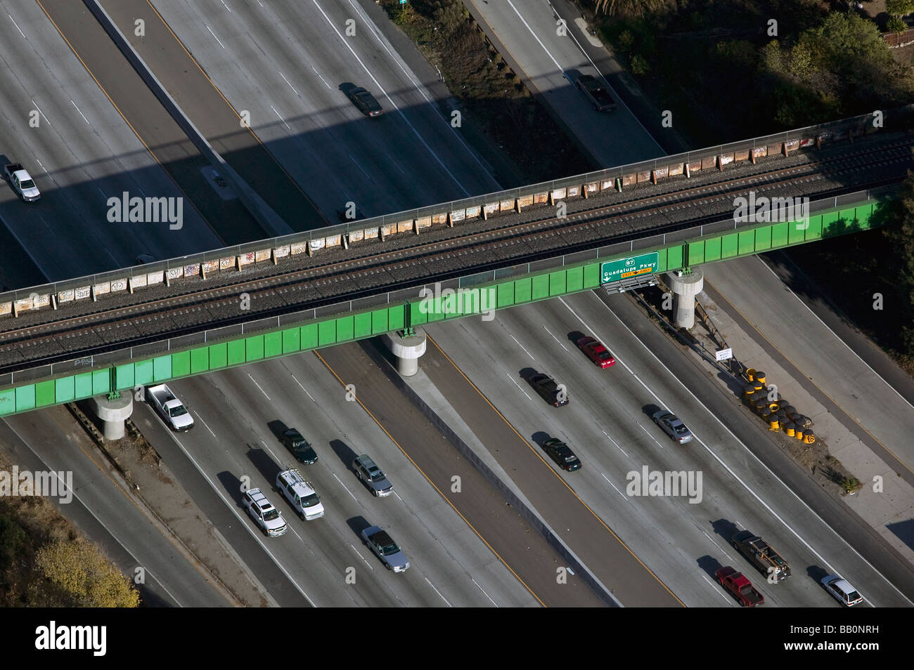 aerial view above railroad overpass interstate highway 280 San Jose at CA 87 Guadalupe Parkway California - Stock Image
