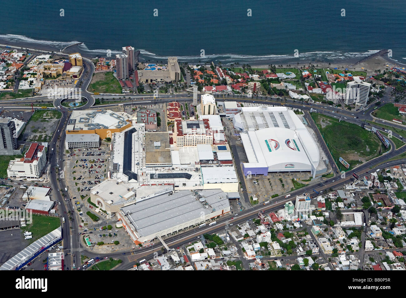 aerial view above Veracruz World Trade Center and mall Sears Mexico - Stock Image