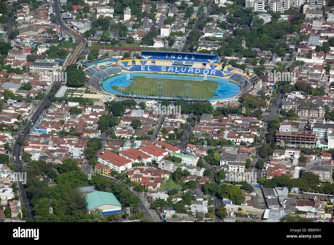 aerial view above El Salvador stadium San Salvador Stock Photo