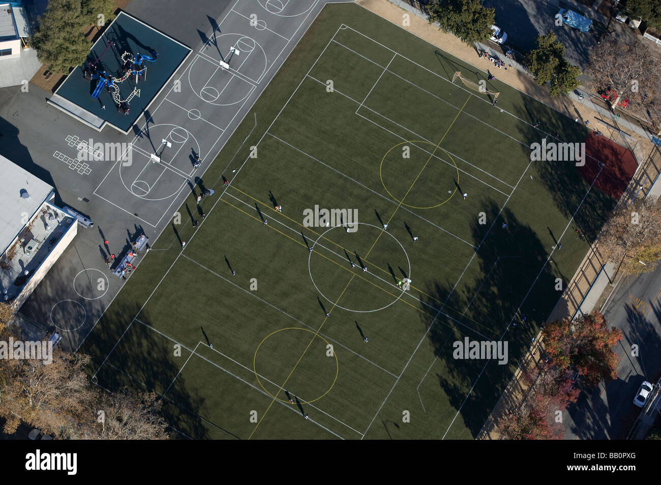 aerial view above school playground San Jose California - Stock Image