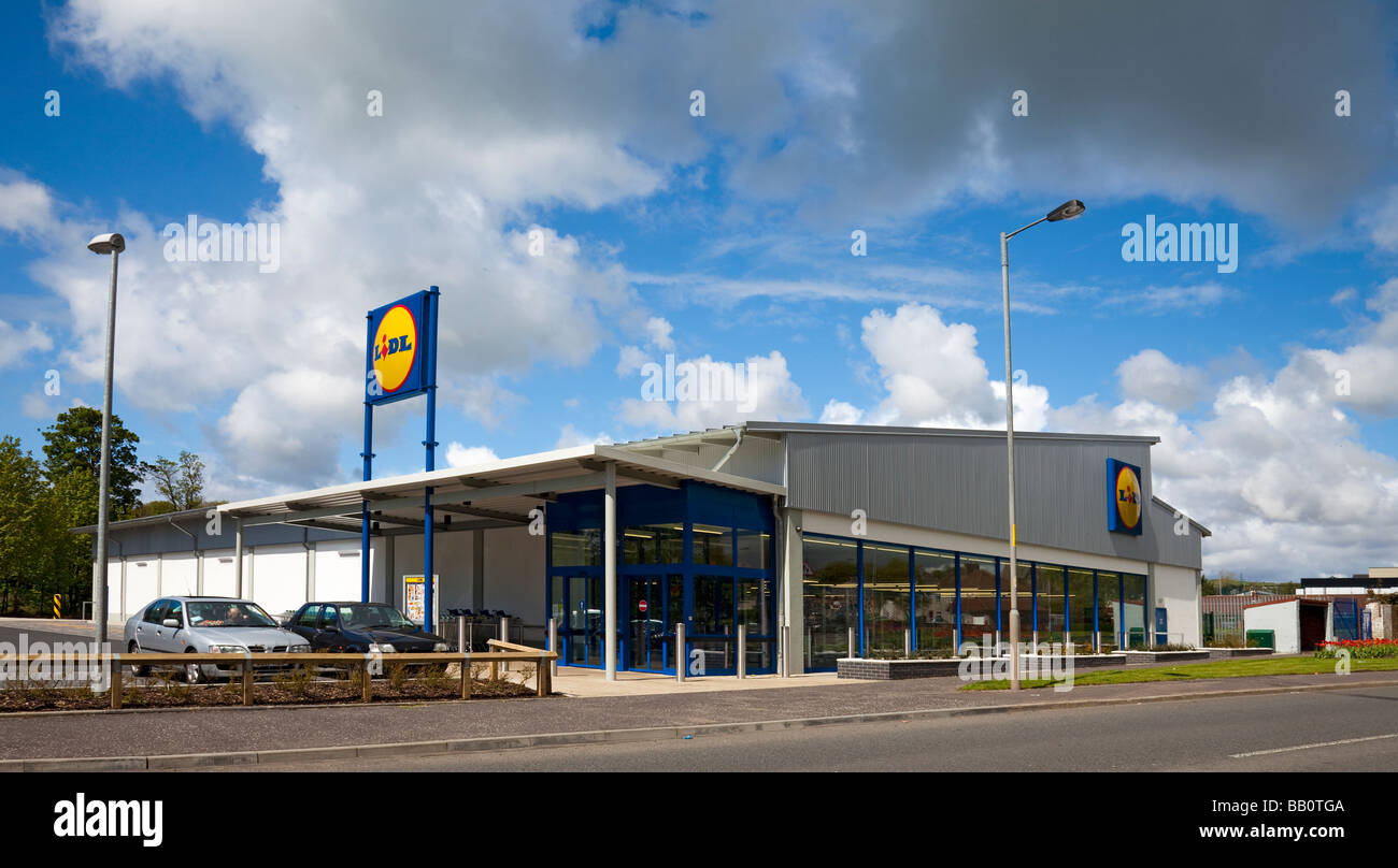 A Lidl supermarket on the outskirts of Dalry, Ayrshire, Scotland. - Stock Image