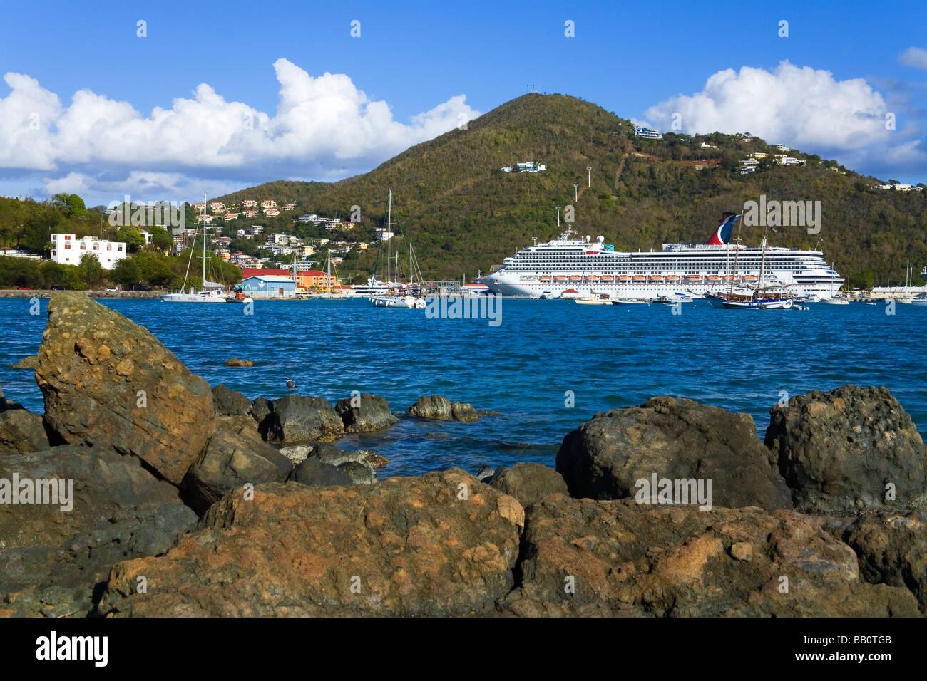 Rocks and cruise ship; Charlotte Amalie, St. Thomas Island, U.S. Virgin  Islands