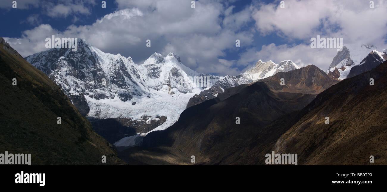 Jirishanca mountain from camp at Yaucha Punta Jahuacocha Peru South America - Stock Image