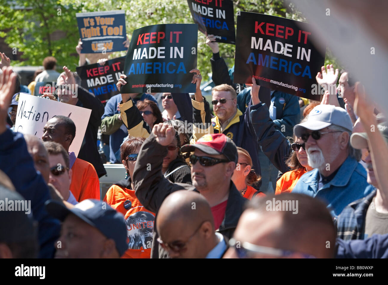 Rally to Save American Manufacturing Jobs - Stock Image