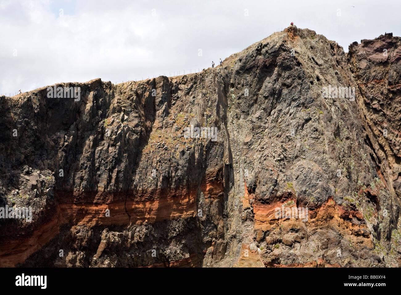 interesting cliff strata ponta de sao lourenco madeira portugal island in the mid Atlantic Ocean - Stock Image