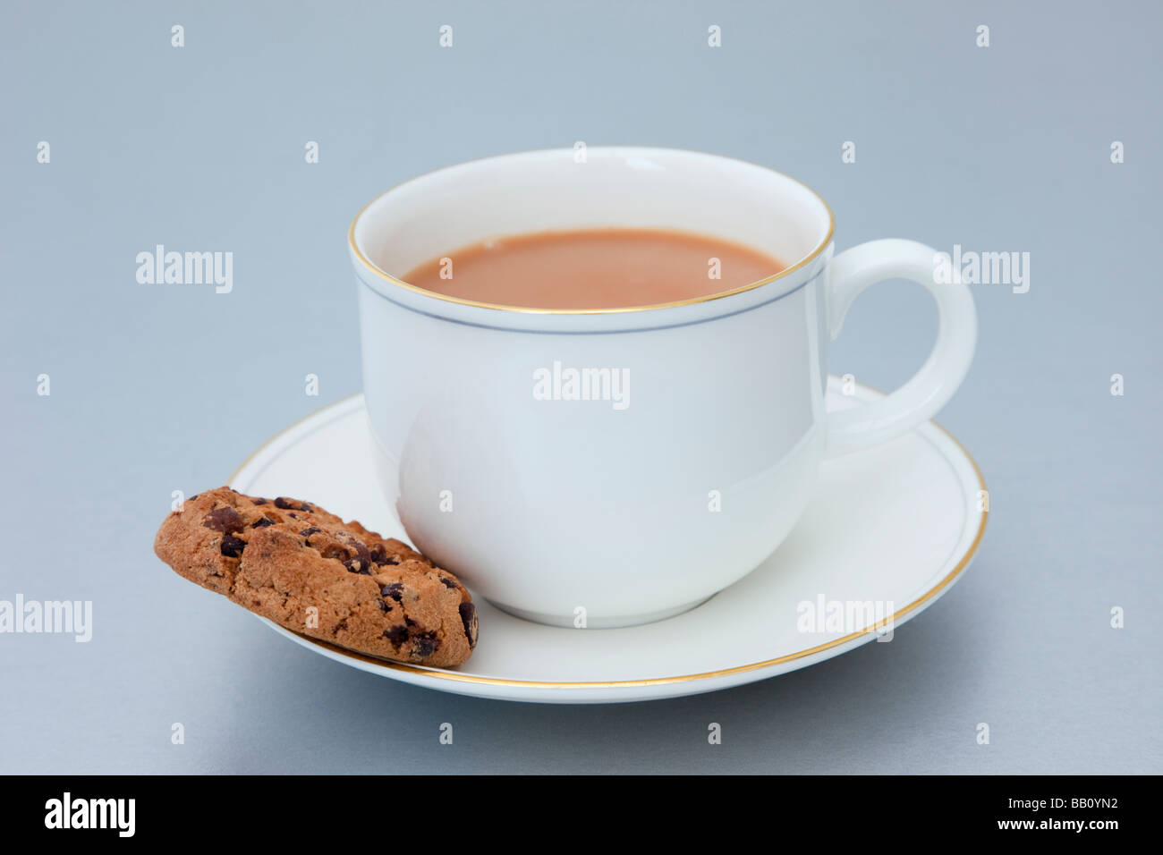 White cup of English tea and a chocolate chip biscuit in a saucer on a plain backdrop. England UK Britain - Stock Image