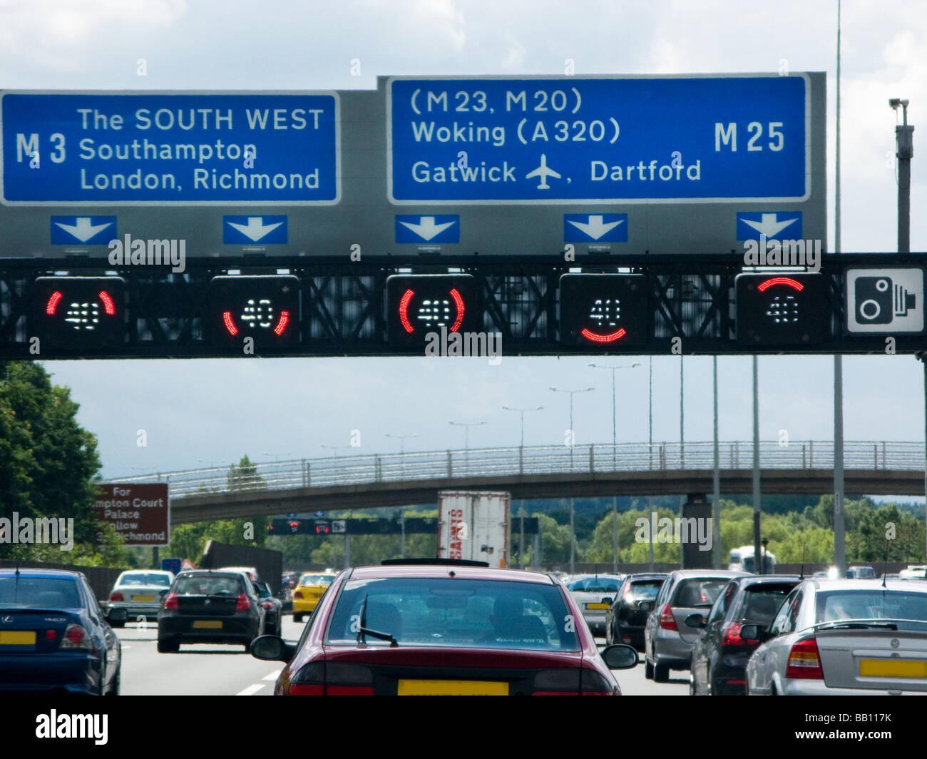 Heavy Traffic on M25, UK - Stock Image