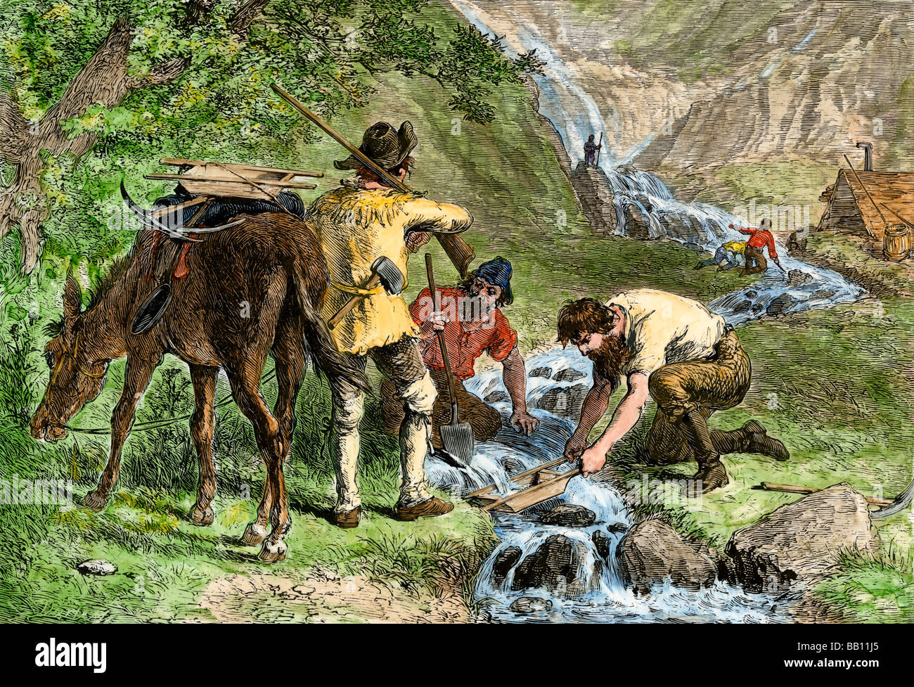 California prospectors washing gravel in a stream looking for gold. Hand-colored woodcut - Stock Image