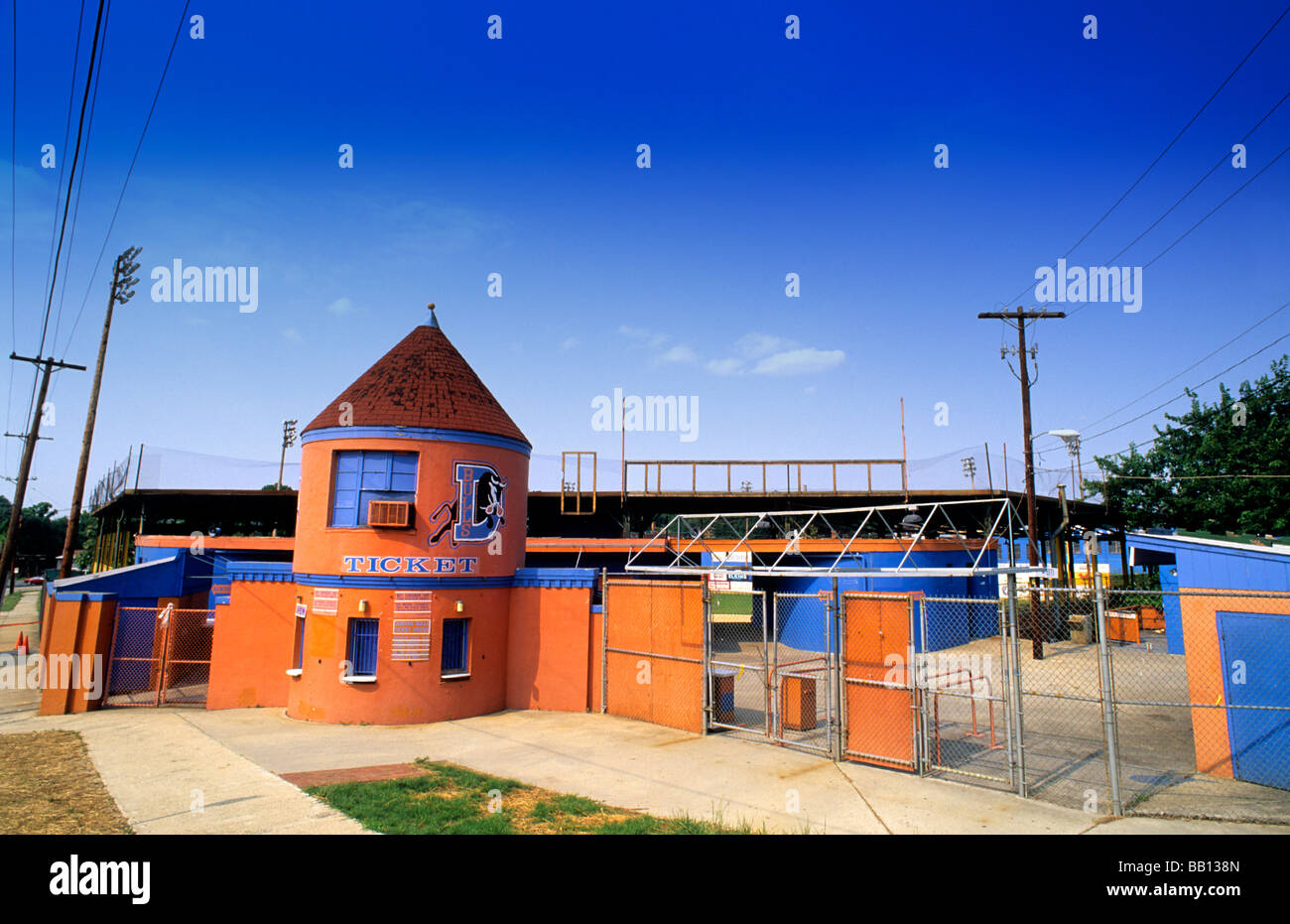 Duke University in Durham North Carolina USA famous Bull Durham Stadium - Stock Image