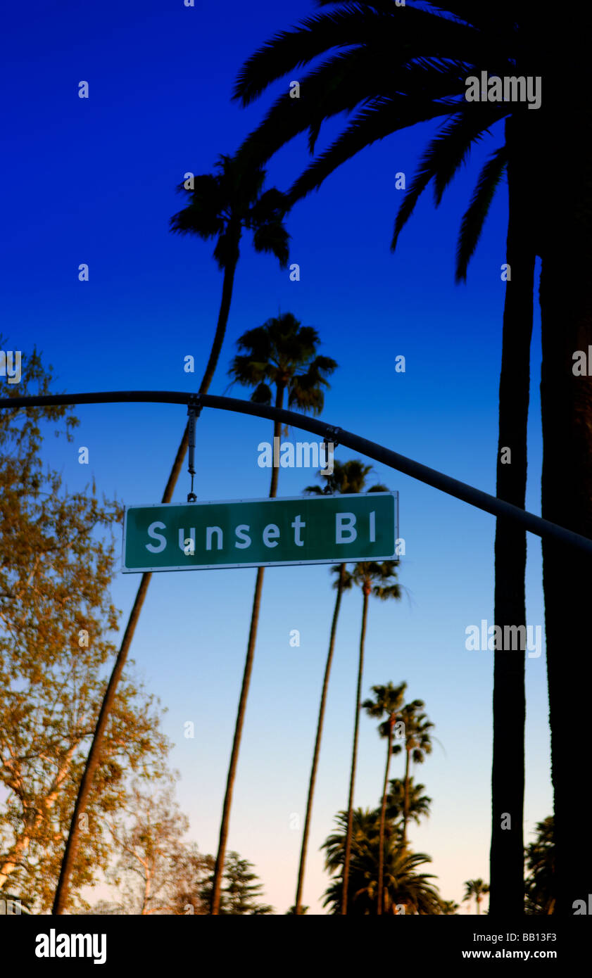 Famous Sunset Blvd sign in Beverly Hills Los Angeles California - Stock Image