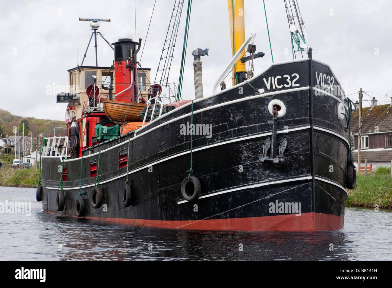 S. L. VIC 32 on the Crinan Canal at Ardrishaig Stock Photo