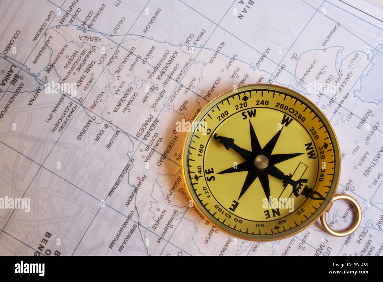Cirectional compass on map - Stock Image