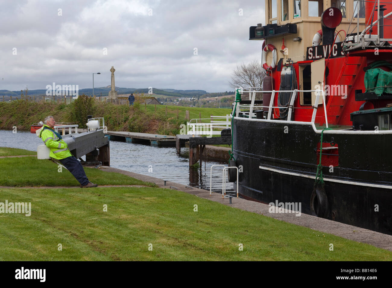 S. L. VIC 32 on the Crinan Canal at Ardrishaig - Stock Image