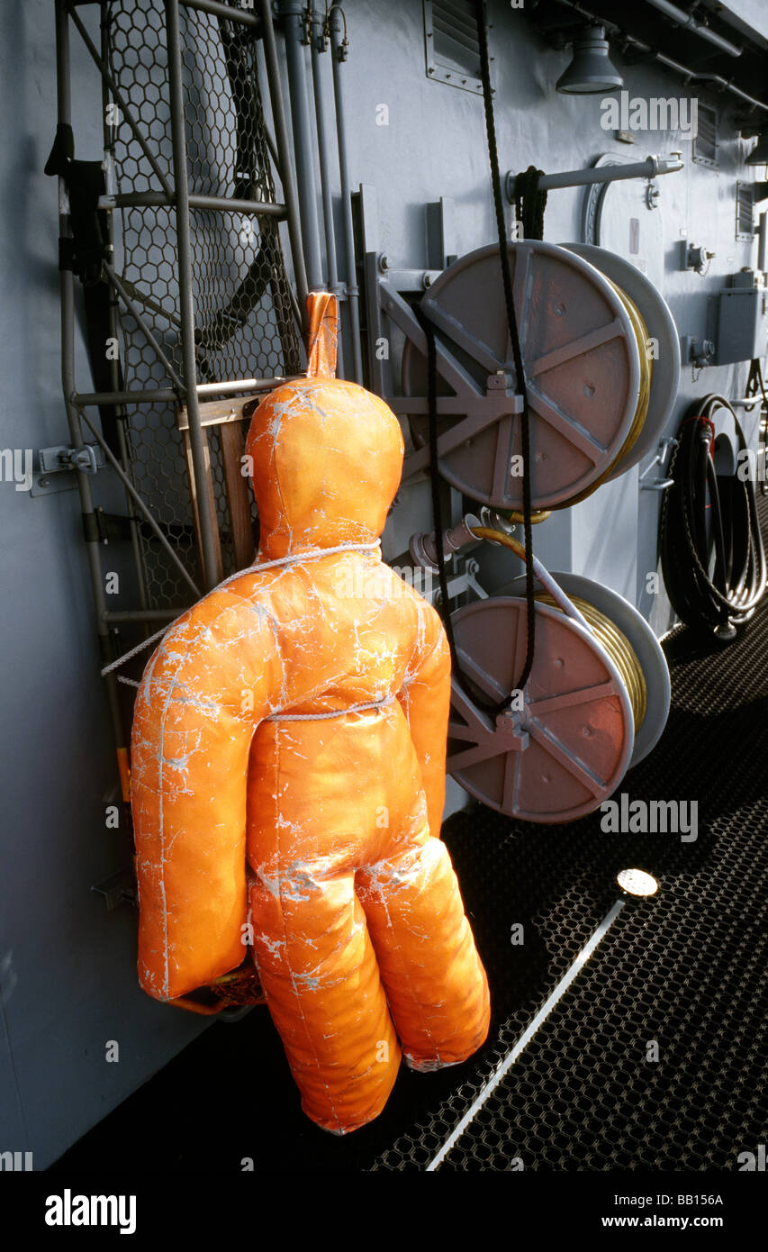 May 9, 2009 - Dummy used by German mine hunter Grömitz to exercise man overboard turns. - Stock Image