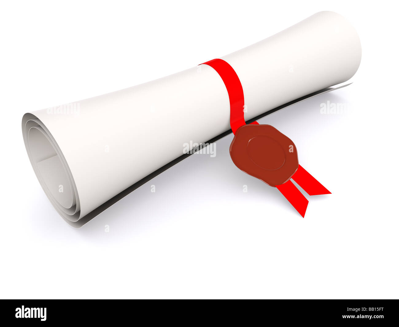 diploma in scroll on white 3d - Stock Image