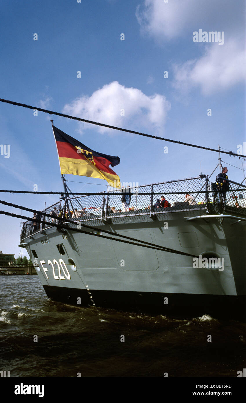 May 9, 2009 - German frigate Hamburg at Überseebrücke during the 820th Hafengeburtstag in the German port - Stock Image