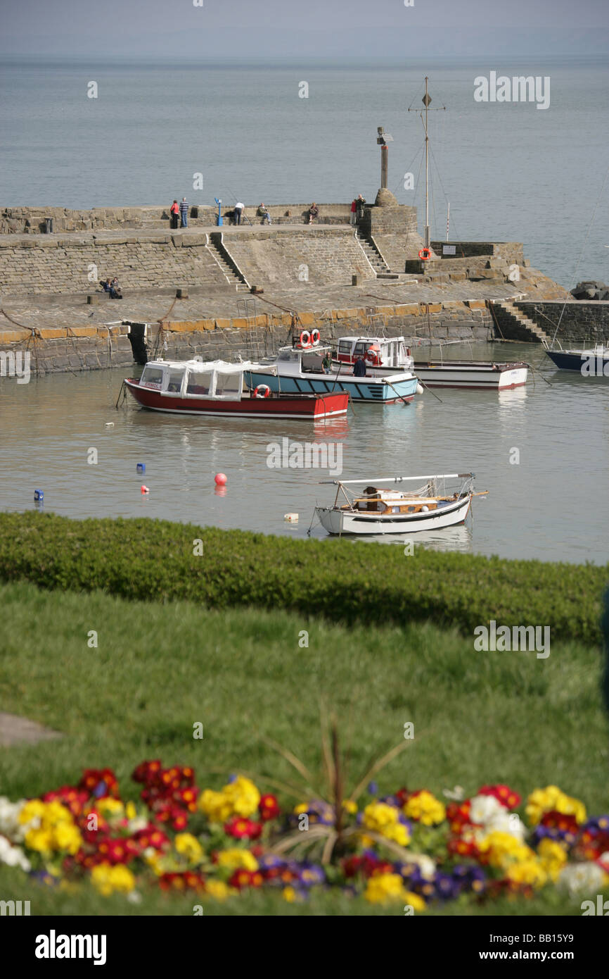 Town of New Quay, Wales. Elevated view of leisure and fishing vessels moored in the picturesque New Quay harbour. - Stock Image