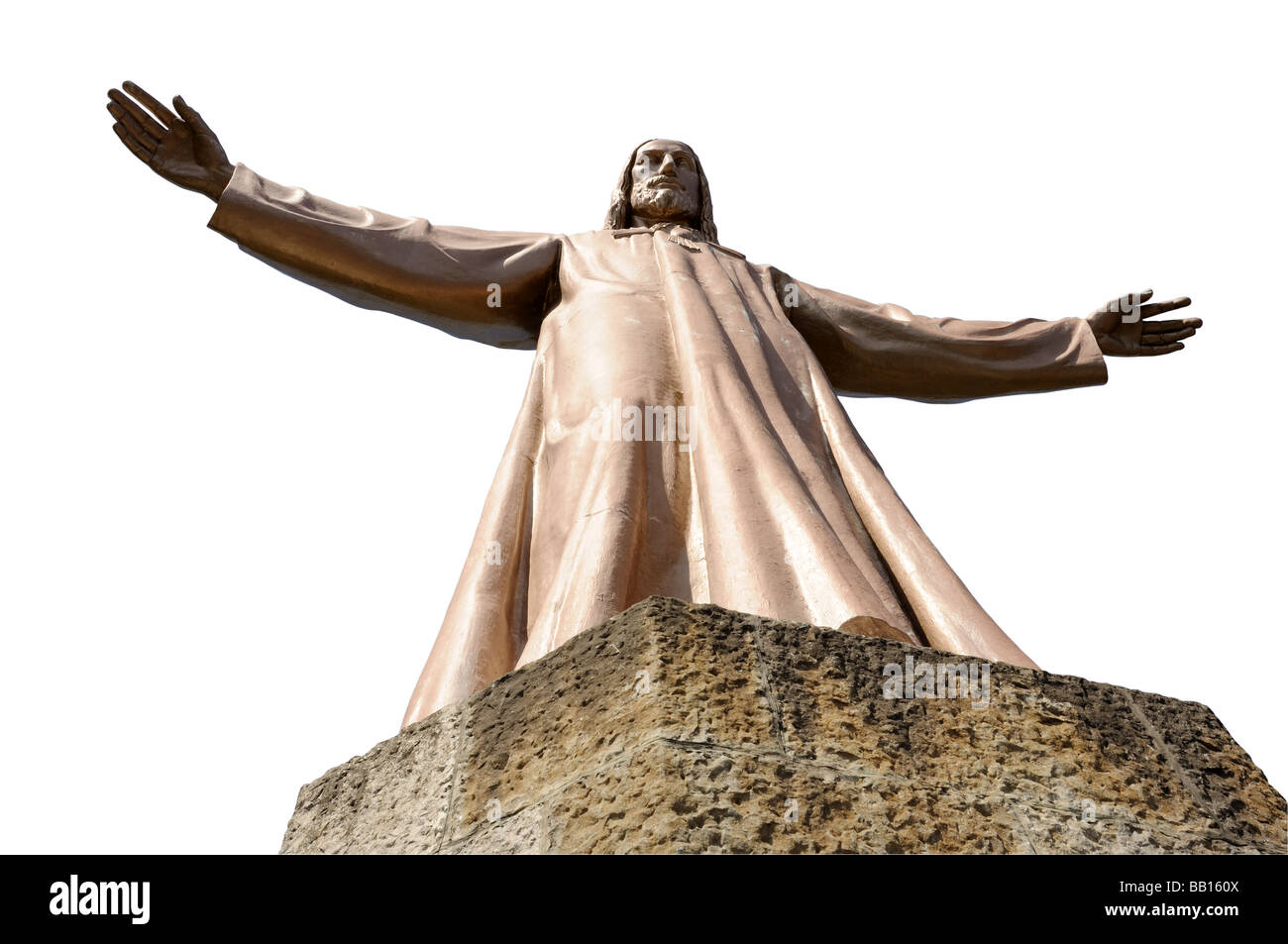 Jesus Christus Statue isolated over white background Tibidabo in Barcelona Spain - Stock Image