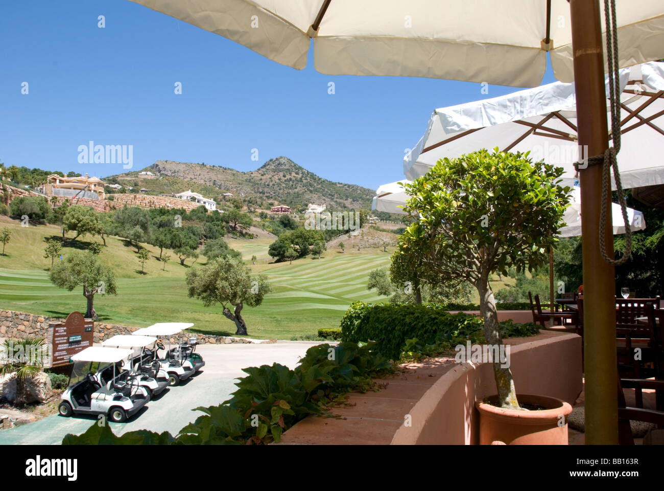 Spanish golf club and clubhouse, Marbella - Stock Image
