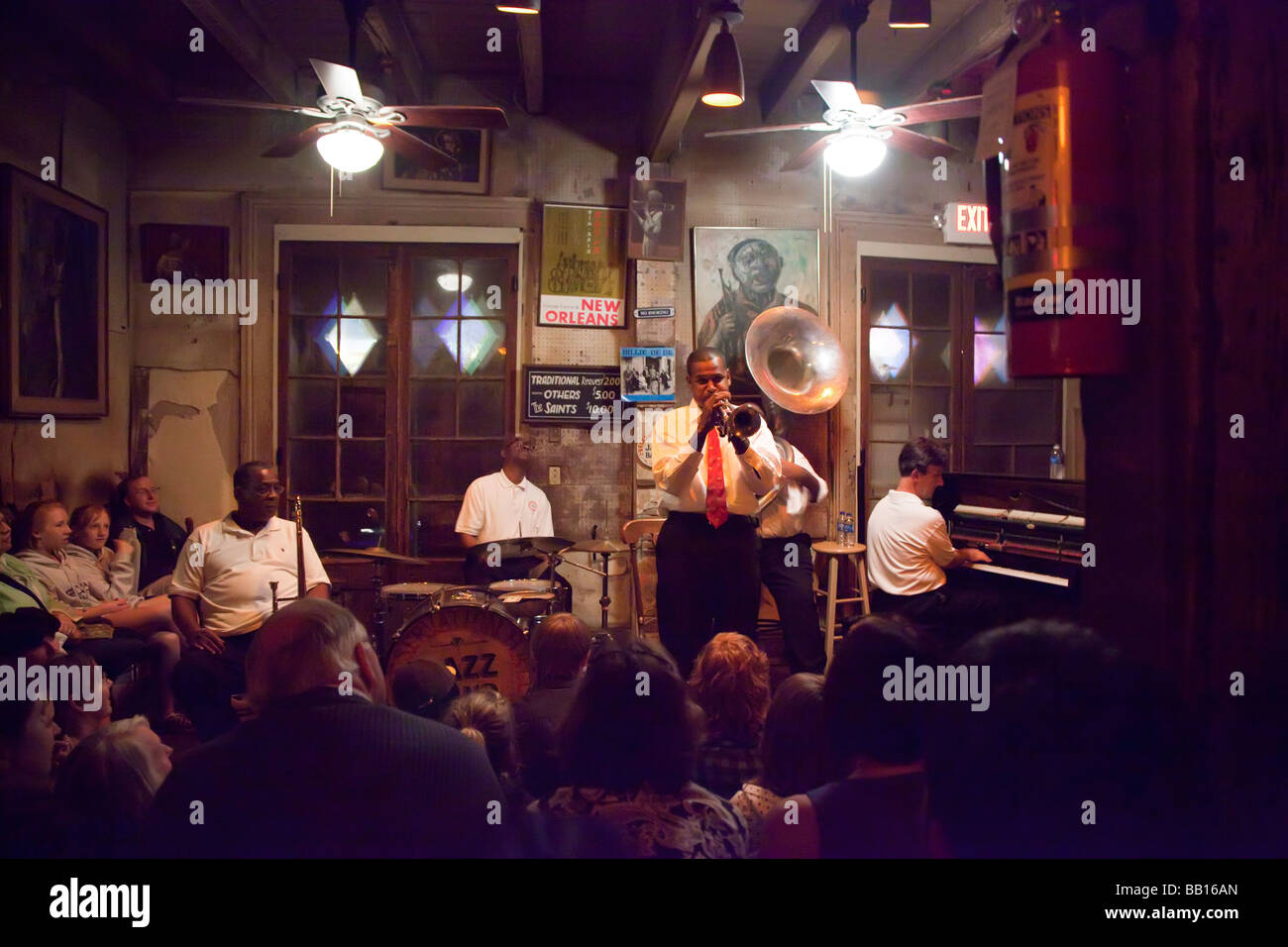 New Orleans Louisiana Jazz musicians play at Preservation Hall - Stock Image