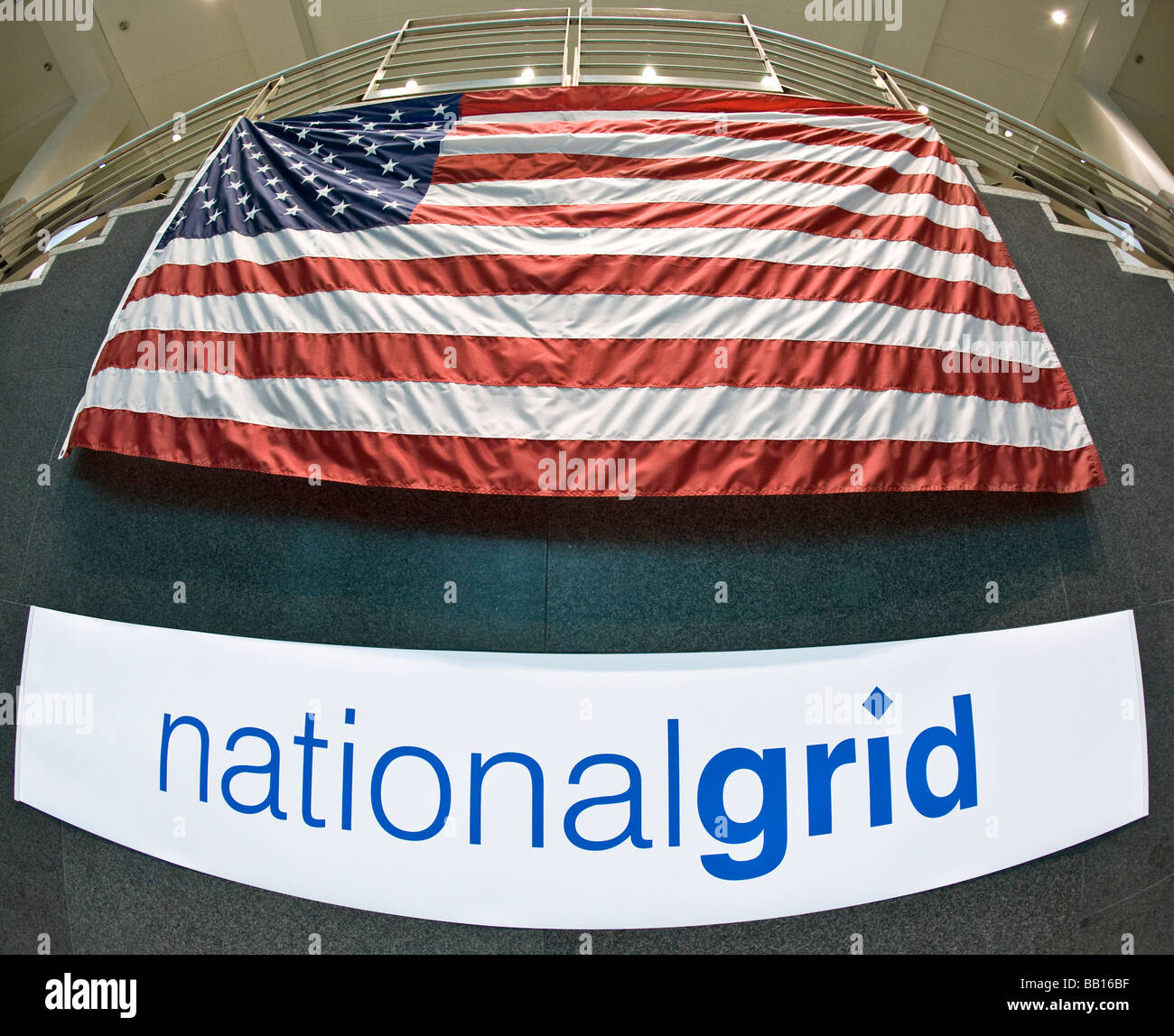 National Grid banner in New York head office Stock Photo