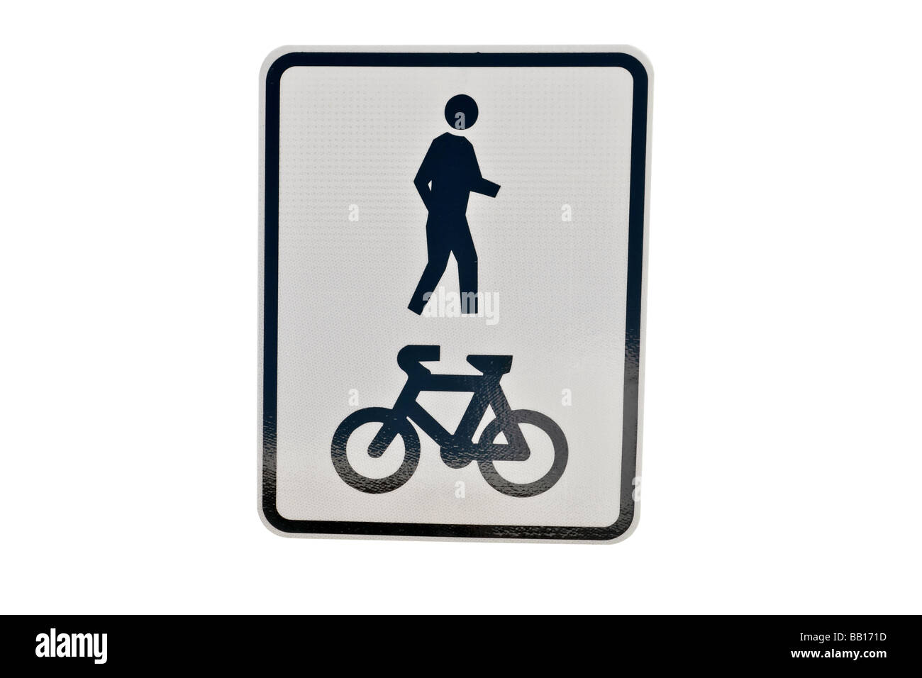 Street or road sign detailing a shared area for pedestrians and bikes - Stock Image