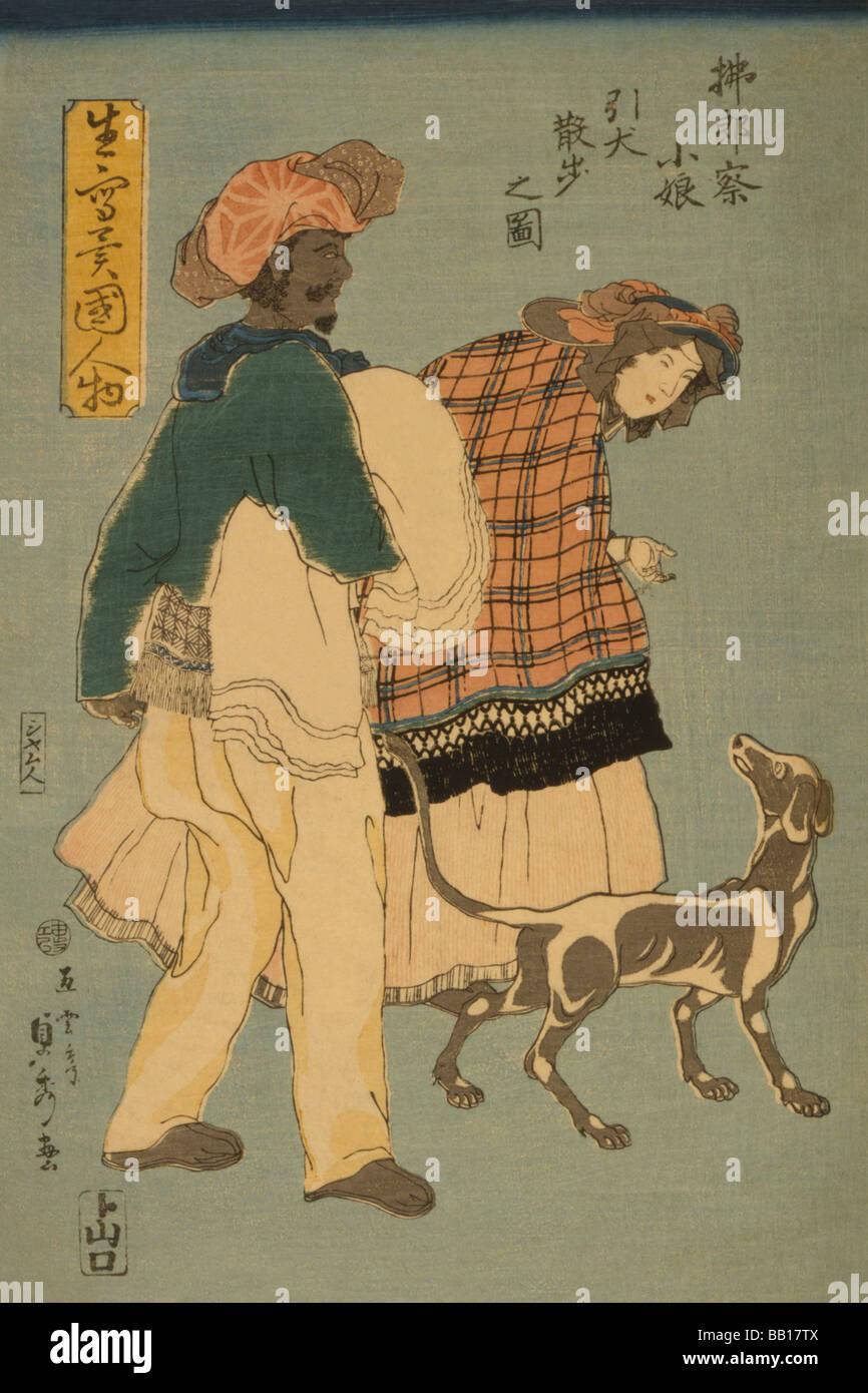 French girl taking walk with dog (Furansu komusume inu o hikite sampo no zu) - Stock Image