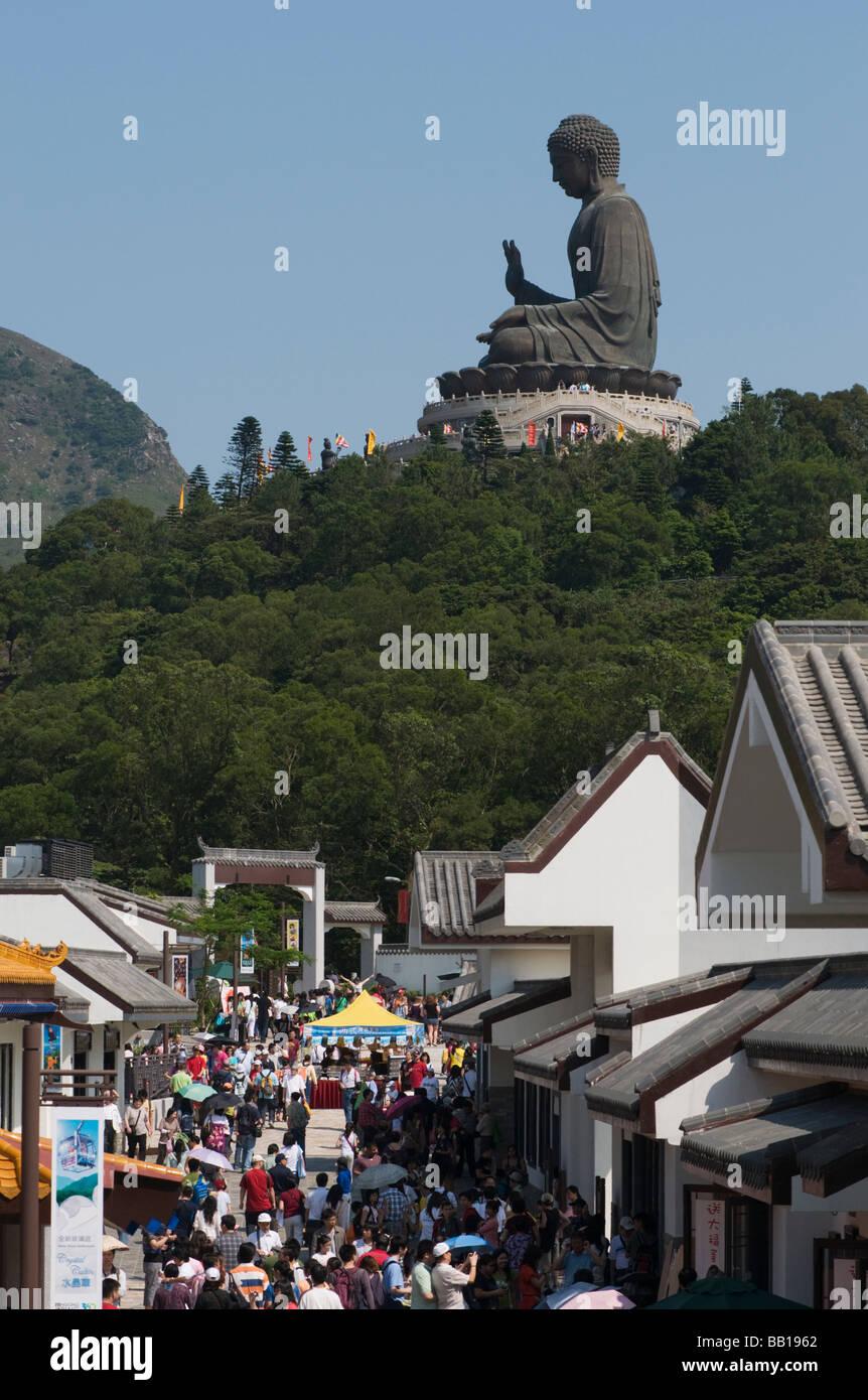 Buddha at Polin Monastery overlooking Ngong Ping village on Lantau Island Hong Kong. 2009 - Stock Image