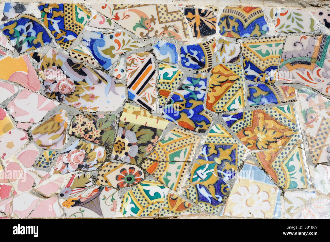 Abstract Mosaic in Antoni Gaudis Park Güell, Barcelona Spain - Stock Image