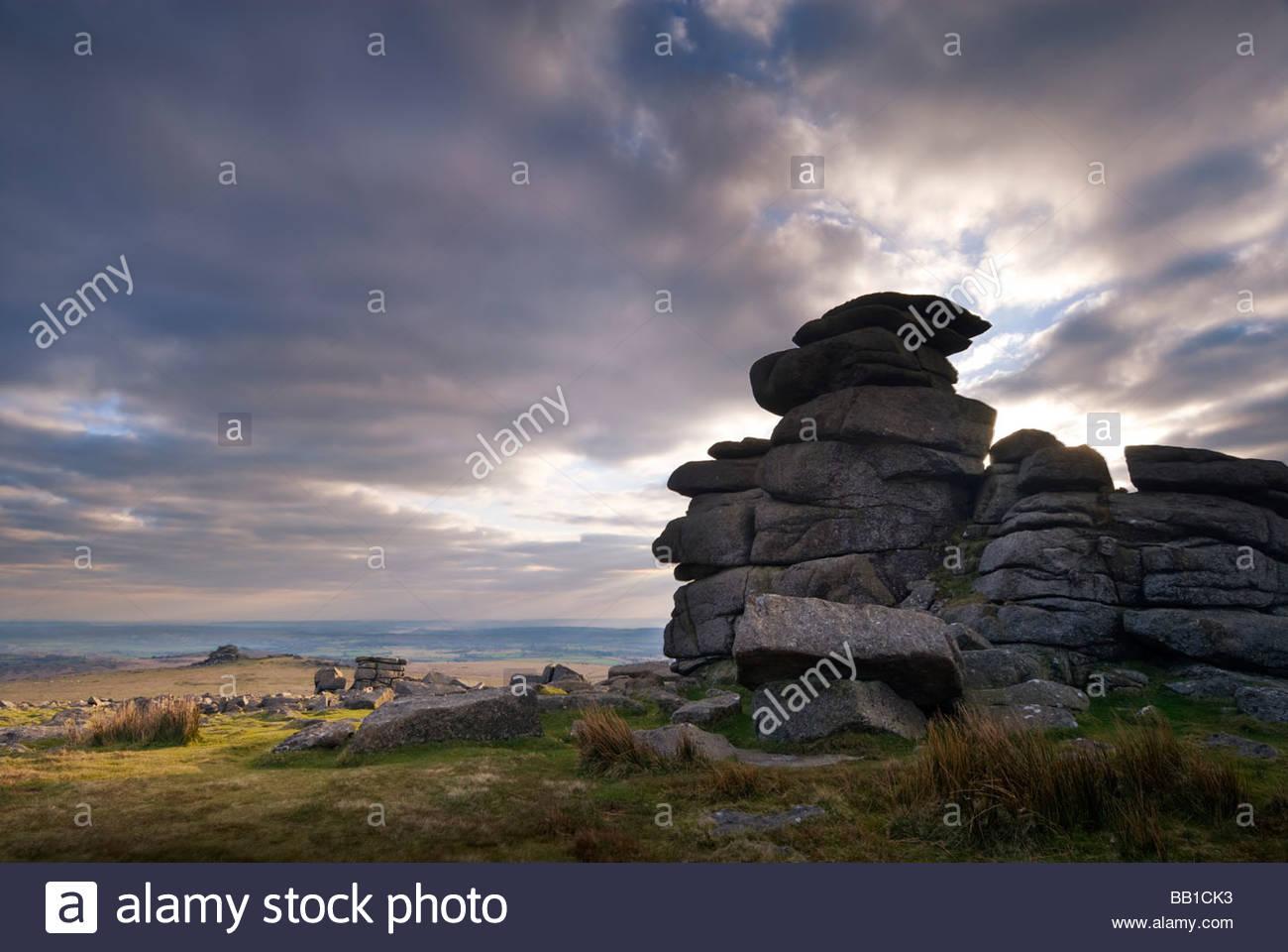 Great Staple Tor, Dartmoor National Park, Devon, England, UK. - Stock Image