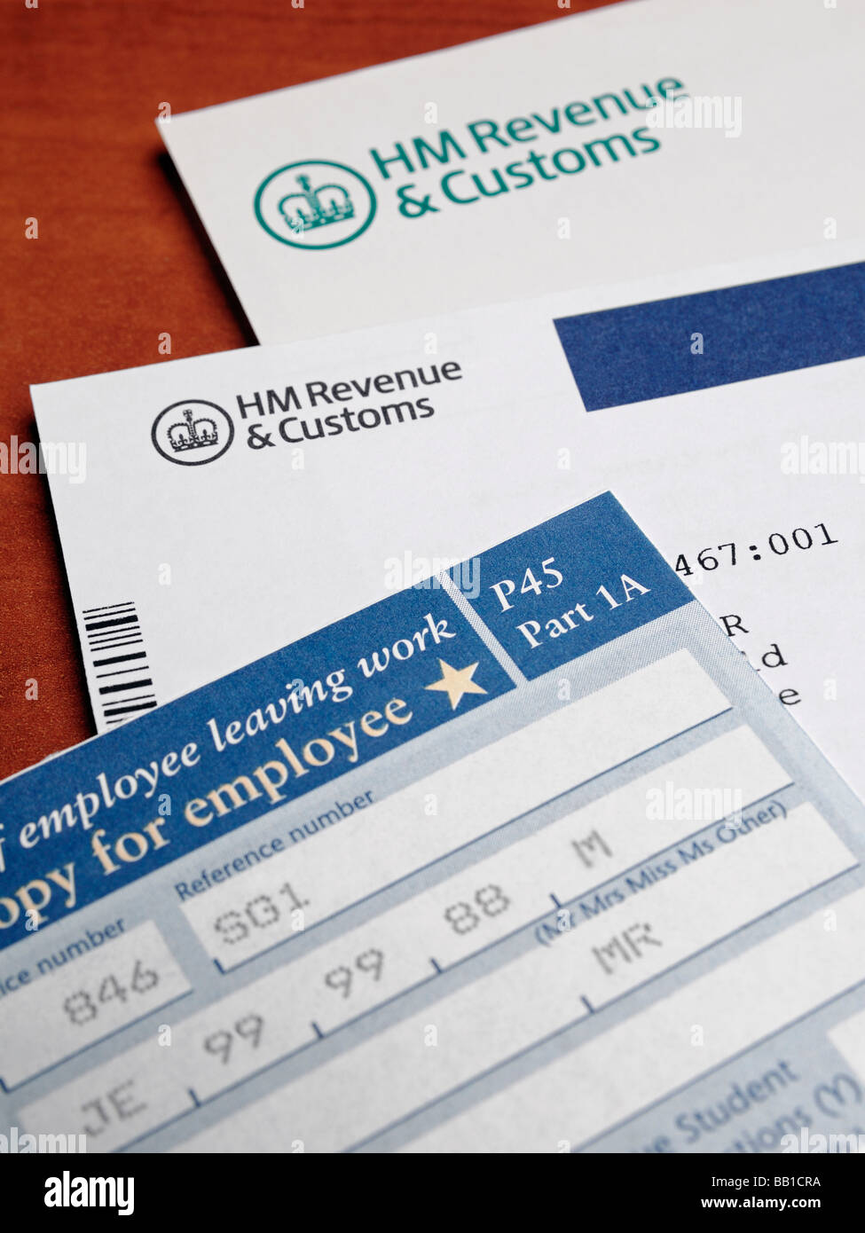 Tax Papers and Forms from HM Revenue Customs - Stock Image