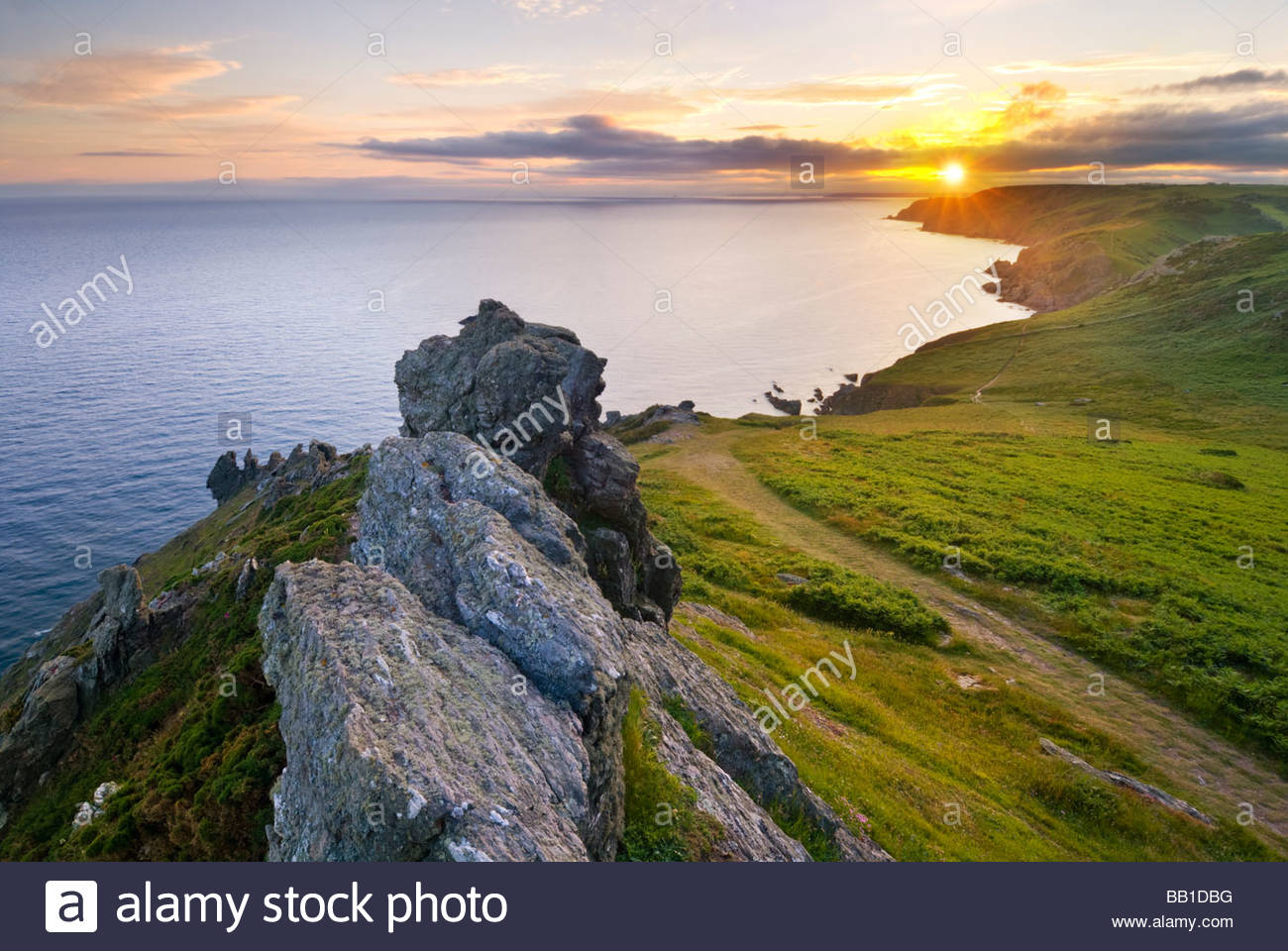 Rocks on the coast near Soar Mill Cove, South Hams, South Devon, England. - Stock Image