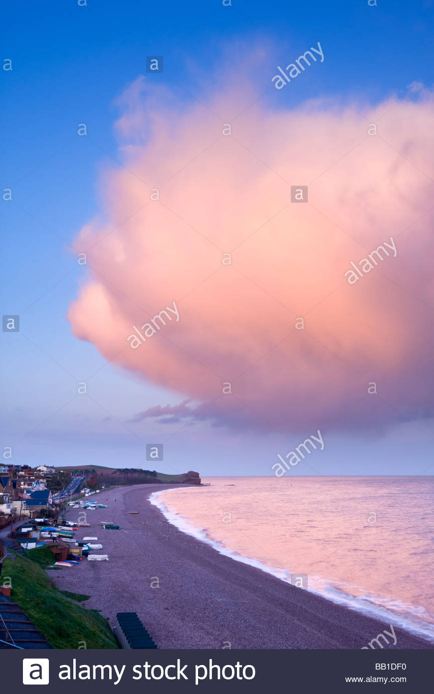Dramatic cloud formation over the beach at Budleigh Salterton, East Devon. - Stock Image