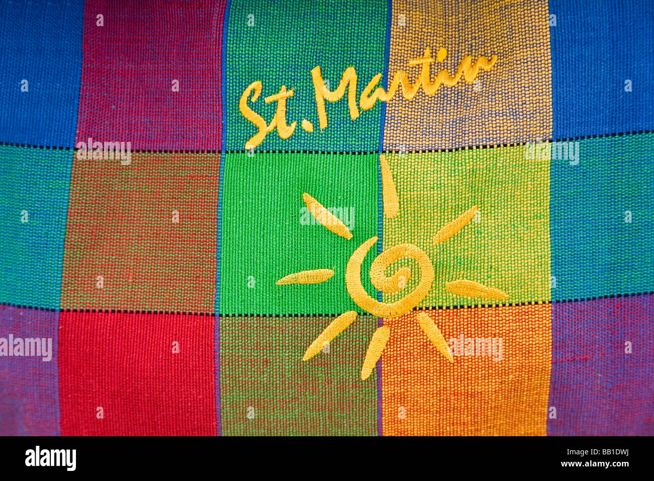 Close-up of multi colored bag; Marigot City, St. Martin Island, French Antilles, Caribbean - Stock Image